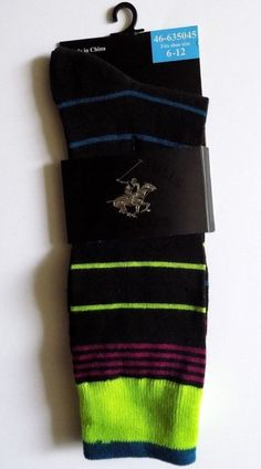 Beverly Hills Polo Club Socks come in a variety of colors, feature flattened toe seams and well-rounded heels for a snug, comfortable fit. A pair or more of these casual crew socks would be a fun, stylish addition to your wardrobe.    •Unique, fun, modern designs of thin stripes (PURPLE, NEON GREEN,BLUE) •Breathable and lightweight  •Flattened toe seams •Well-rounded heels •360º stretch •Material: 98% polyester, 2% spandex  •Fits men's shoe sizes 6 to 12  Check out my store for entire stock…