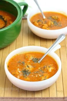 Chicken Parmesan Meatball Soup is a classic Italian dish in soup form - tomato soup with chicken meatballs and mozzarella cheese.