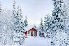 Photo about Winter s Tale. Red Finnish cottage in a beautiful snow forest. Snow Photography, House Photography, Background For Photography, Photography Backdrops, Digital Photography, Product Photography, Nature Landscape, Landscape Photos, Winter Szenen