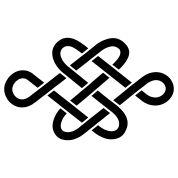 Symbool- Teken- Gebaar *Symbol ~de Eeuwige / Eindeloze Knoop: een van de acht boeddhistische gelukstekens voor een lang leven, nooit eindigende wijsheid, waakzaamheid, continuïteit en eeuwigheid~