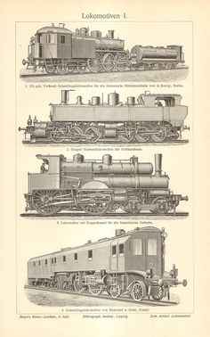 1904 Locomotives, Fast Train Engines Orginal Antique Engraving