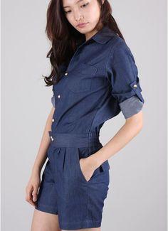 Denim jump suit  Designer brand by Dresslook, korea.  75 dollar.