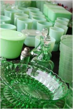 Grenadine depression glass and jadeite.