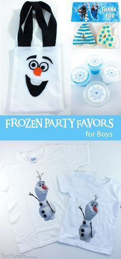 Disney Frozen Party Favors for Boys - Here is our collection of fun DIY Frozen Party Favors for Boys including DIY Olaf Shirts, Olaf Party Favor Bags, Troll Slime and Thank You Cookies.  For more great Frozen Party Ideas follow us at http://www.pinterest.com/2SistersCraft/