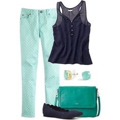 Mint & Navy by laurynmarton on Polyvore featuring J.Crew, MIA, FOSSIL and C. Wonder