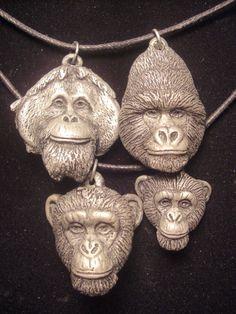 Great Ape Pendant set cold cast pewter by jasonshanamanart on Etsy, $34.00