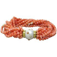 Trianon Pearl Coral Bead Diamond Gold Multi Strand Bracelet