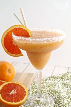 Ripe peach and sweet Cara Cara oranges come together in this refreshing Frozen Peach & Cara Cara Orange Margarita.