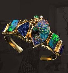 #Gold #Blue #Green #Opal #Bracelet #Jewellery