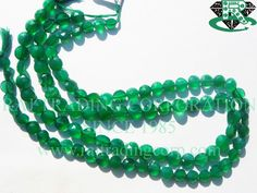 Green Onyx Faceted Coin (Quality AA+) Shape: Coin Faceted Length: 36 cm Weight Approx: 13 to 15 Grms. Size Approx: 6.5 to 8 mm Price $18.00 Each Strand
