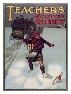 AP1685 - Teachers Whisky Advert, Bottle in Snow, 1905s (30x40cm Art Print)