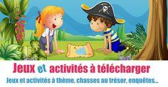 Imprimez une chasse au trésor ou une enquête mystère pour la fête d'anniversaire de votre enfant. Utilisez aussi les jeux à thème gratuits : fée, pirate...