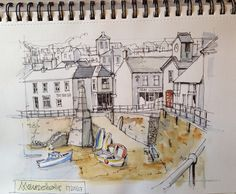 Line and wash travel sketching