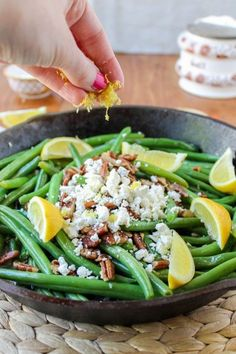 Lemon Green Beans with Feta and Fried Pecans by thefoodcharlatan #Green_Beans #Lemon #Feta #Pecans