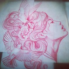 Coloured Pencils, Tattoo Drawings, Girl Tattoos, Anime Characters, Old School, Tatting, Artsy, Art Sketches, Illustration