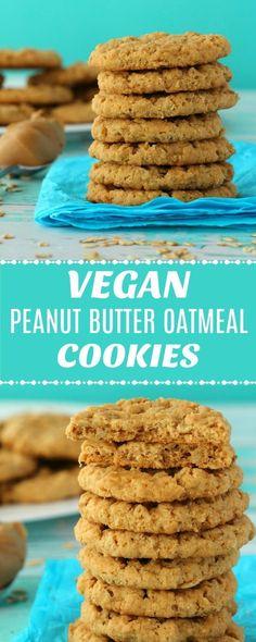 Vegan peanut butter oatmeal cookies, a perfect combination of oatmeal cookies and peanut butter cookies! Vegan peanut butter oatmeal cookies, a perfect combination of oatmeal cookies and peanut butter cookies! Vegan Oatmeal Cookies, Vegan Peanut Butter Cookies, Peanut Butter Oatmeal, Peanut Butter Cookie Recipe, Healthy Cookies, Easy Vegan Cookies, Easy Peanut Butter Recipes, Oatmeal Scotchies, Oatmeal Cookie Recipes