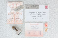 Ombre Watercolor Letterpress Wedding Invitations7 550x366 Erin + Andrews Ombre Watercolor and Letterpress Wedding Invitations