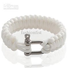 Wholesale white Paracord 550 Parachute Cord Bracelet Kiting Camping Survival Bracelets U Steel Buckle, Free shipping, $2.44-3.04/Piece | DHgate
