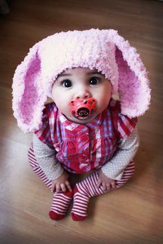 Easter Love Flopsy Bunny Rabbit Crochet Hat - Baby Pink