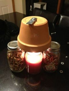 DIY Candle-Powered Pottery Heater - This will heat a closed room if the power goes out.  NOT the whole house, but one room.