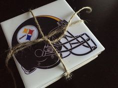 Gift for football fan. Gifts For Football Fans, Personalized Products, Drink Coasters, Pittsburgh Steelers, Unique Gifts, Ceramics, Drinks, Design, Ceramica