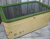 Vintage metal yellow and green bread box with glass lid