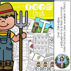 This ENORMOUS > farm unit includes almost everything you will need to teach language arts and math with a fun farm theme. Included in this 280+ page bundle are colorful centers (with a black and white option for most centers) and no-prep black & white activities.Enjoy!-----------------------------------------------------------------------------------------  Language Arts Activities:  Letter Recognition Upper and Lower case letter match Identify upper and lower case F Sort b and d Ident...