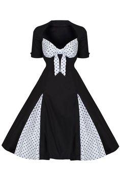 Black and White Polka Dot Retro 50s Rockabilly Dress
