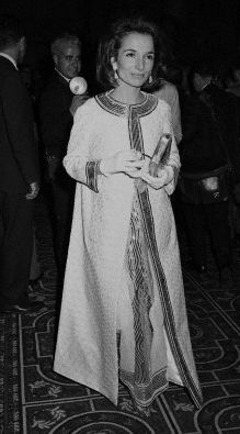 Lee Radziwill arriving at Truman Capote's Black and White Ball in the Grand Ballroom at the Plaza Hotel. November 29, 1966