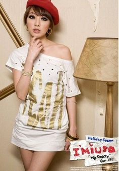 Words Printing Round Collar Long T-shirt White