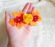 Barrette autumn leafs wedding hair clip woodland wedding orange yellow red hand made satin ribbon flower faux stones - pinned by pin4etsy.com