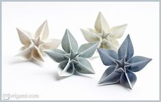 Learn how to fold these beautiful origami Carambola Flowers from a single sheet of paper — design by Carmen Sprung, video tutorial by Sara Adams.
