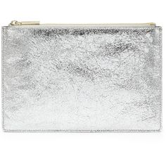 Whistles Small Cracked Clutch (67 BRL) ❤ liked on Polyvore featuring bags, handbags, clutches, accessories, purses, silver, special occasion clutches, leather man bag, hand bags and leather hand bags