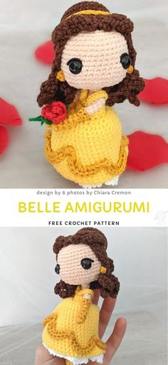 Belle Amigurumi Free Crochet Pattern Fairytale Cute Crochet Amigurumi Dolls Beauty and the Beast is one of the most beautiful Disney tales Belle the main character is very brave strong Crochet Easter, Cute Crochet, Beautiful Crochet, Crochet Dolls, Knitted Dolls, Crochet Pattern Free, Disney Crochet Patterns, Doll Patterns, Pokeball Crochet