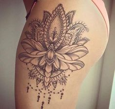 15 Most Alluring Lotus Tattoo Designs To Get Inspired - Huge Lotus design on thigh tattoo triangle - Lotus Tattoo Design, Flower Tattoo Designs, Design Tattoos, Tattoo Flowers, Lotus Design, Thigh Tattoo Designs, Mandala Design, Lotus Flower Tattoos, Lace Tattoo Design