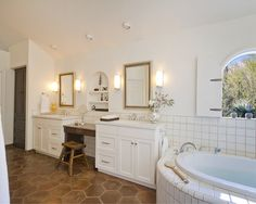 Love this look and the old stool ;)    Mediterranean Bathroom Bathroom Tub Tile Design, Pictures, Remodel, Decor and Ideas - page 4