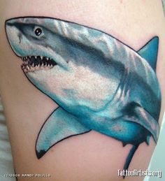 A Great White Shark tattoo. Like the outlining. Badass Tattoos, Sexy Tattoos, Tatoos, Shark Tattoos, Ink Addiction, Star Wars Tattoo, Future Tattoos, Tattoo You, Color Tattoo