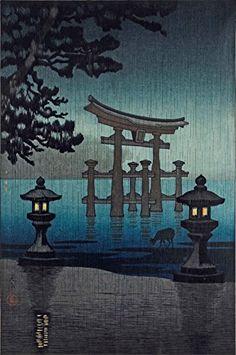 "Japanese Art Print ""Miyajima in the Rain"" by Tsuchiya Koitsu. Shin Hanga and Art Reproductions http://www.amazon.com/dp/B00VCFH1EA/ref=cm_sw_r_pi_dp_X1Vvwb1QFX2C2"