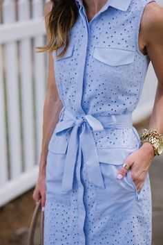 Periwinkle eyelet dress I'd leave out the skirt pockets and show off the eyelet material more #shirtdress