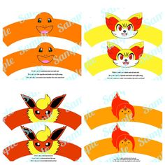 Fire pokemon cupcake wrappers. Flareon Charmandar Flame Princess Fennekin