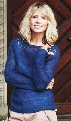 Familie Journal - strikkeopskrifter til hende Lace Knitting, Knitting Patterns, Knit Crochet, Hand Knitted Sweaters, Knitwear, Free Pattern, Pullover, Elegant, Tops