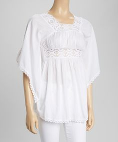 Look at this White Crocheted Cutout Top on #zulily today!