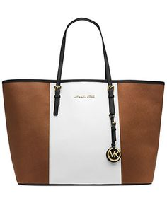 MICHAEL Michael Kors Jet Set Travel Center Stripe Medium Tote- you could wear this with black, brown, or white, any season.