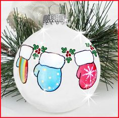 Mittens ornament  ~ can add names to cuffs