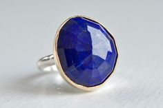LOVE!!! Rose Cut Free Form Lapis Ring in Recycled 14k Gold and Sterling by Erin Jane Designs
