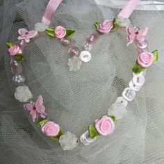 Pink Wire Button Hanging Heart £10.00