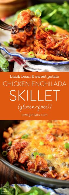 "Black Bean and Sweet Potato Chicken Enchilada Skillet is a healthy, 1 skillet, gluten-free dinner recipe that my entire family (including my 4 year old!) described as ""really, REALLY good!""  I meal pl"