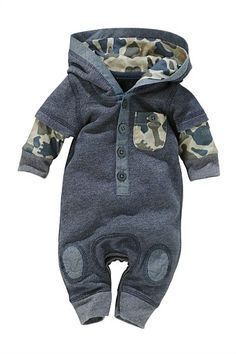 Newborn Clothing - Baby Clothes and Infantwear - Next Denim Look Romper #babyboyoutfits