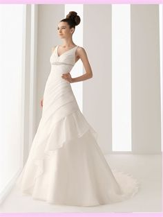 White A Line V-Neck Beading Chiffon Wedding Dress