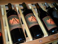 Wines on display at the Old Town Cottonwood, Arizona tasting room of Arizona Stronghold Wines.